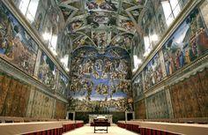 Capela Sistina, Vaticano, Itália. Os frescos de Miguel Ângelo estão a desvanecer pelo dióxido de carbono produzido pelos visitantes. Um dos nove locais turísticos que podem desaparecer