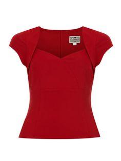 Collectif-Regina-Top-Black-Red-Pinup-Vintage-Rockabilly-Retro-1940s-1950s-New