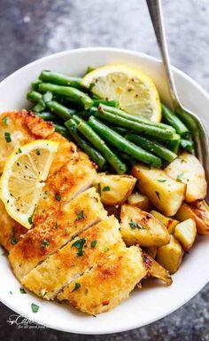 Crispy Sheet Pan Lemon Parmesan Garlic Chicken & Veggies (Milanese)   https://cafedelites.com