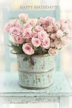 HAPPY BIRTHDAY!!!  ~   PINK ROSES w/  BLUE ANTIQUE