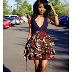 Items similar to African Print Plunge Neckline Dress- Ankara Flare Short Dress- Ankara Print - African Dress - Handmade - Africa Clothing - African Fashion on Etsy - Trend Fitness Aesthetic 2020 Ankara Dress Styles, African Print Dresses, African Fashion Dresses, African Dress, Ankara Skirt, Kente Styles, Ghanaian Fashion, African Prints, African Fashion Designers
