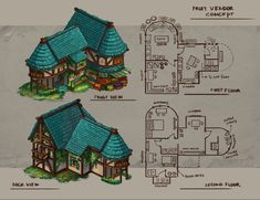 Cute Minecraft Houses, Minecraft House Designs, Minecraft Blueprints, Minecraft Crafts, Minecraft Medieval House, Medieval Houses, Concept Art Landscape, Fantasy Concept Art, Fantasy Map