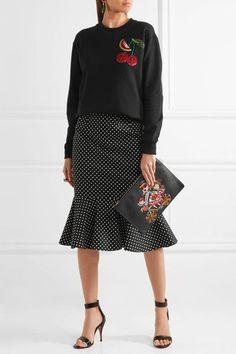 Dolce & Gabbana - Embellished Appliquéd Cotton-jersey Sweatshirt - Black - IT42