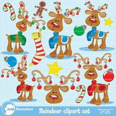 80%OFF Christmas clipart, reindeer clipart, vector graphics, commercial use, digital clipart, instant download, AMB-500