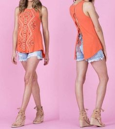 Orange Lace Up Tank, this bright tank is beautiful on the front and back!