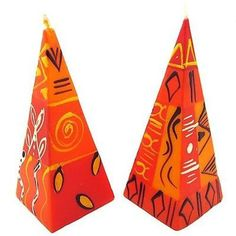 Set of Two Hand-Painted Pyramid Candles - Zahabu Design Handmade and Fair Trade. This set of two colorful pyramid shaped candles are hand-painted by artisans in South Africa. Each candle is 2 inches square at the base, and approximately inches tall. Romantic Candles, Unique Candles, Handmade Candles, Decorative Candles, Fall Candles, Living Room Candles, Candle Shop, Candle Centerpieces, Hand Painted