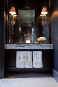 linens and floating vanity for powder room - A Interior Design Bathroom Interior, Home Interior, Interior Design, Interior Decorating, Decorating Ideas, Decor Ideas, Powder Room Vanity, Powder Rooms, Mirror Powder