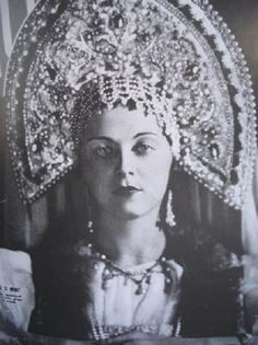 "Princess Ariadne Gedeonova, the winner of ""Miss Russia"" Beauty Contest, wearing a Russian costume and a kokoshnik. Paris, France, 1936."