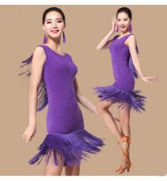 Purple violet black red hot pink fuchsia royal blue Women's deep v see through back sleeveless fringes competition performance practice professional latin salsa samba dance dresses outfits for ladies