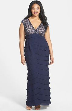Adrianna Papell Lace Bodice Shutter Pleat Gown (Plus Size) | Nordstrom