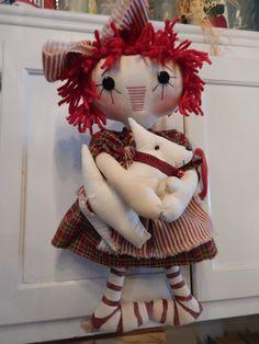 Primitive Raggedy Ann Pattern, Annie and her Bestie Westie West Highland Terrier Puppy, Hair Yarn, Bright Red Hair, Raggedy Ann, Westies, Cute Dolls, Doll Patterns, Annie, Button Eyes