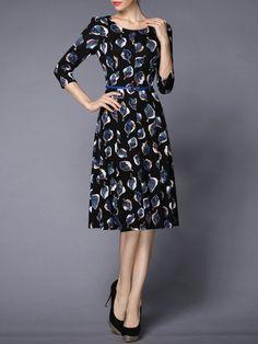 Shop Midi Dresses - Black Cotton-blend Floral 3/4 Sleeve Floral-print Midi Dress online. Discover unique designers fashion at StyleWe.com.