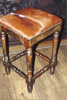 Chuy Cow Hide Bar Stool. No back