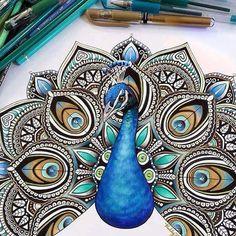 Mandala Peacock By /kellylahar/ - Check out for more amazing art Peacock Drawing, Peacock Tattoo, Peacock Art, Tattoo Feather, Peacock Sketch, Peacock Pics, Peacock Images, Peacock Pictures, Peacock Painting