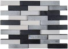 "#AshlandAndHalsted #LavaStone #Galvanized #ElevationBrick #Mosaic (11-7/8"" x 9-7/8"")  | #MidAmericaTile #InnovativeLooks #BrickMosaic #tile #3D #dimensional #backsplash #metalliclook"