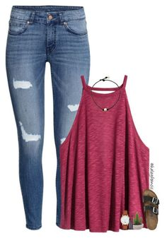 #spring #outfits / ripped jeans + tank top