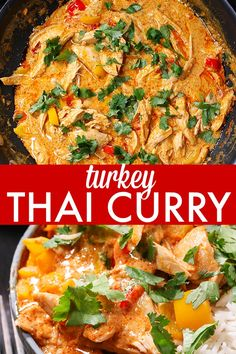 Turkey Thai Curry - A brilliant way to use up your Christmas leftovers! Get dinner on the table in less than 20 minutes. Leftover Chicken Recipes, Easy Chicken Dinner Recipes, Turkey Recipes, Healthy Dinner Recipes, Easy Meals, Cooking Recipes, Lunch Recipes, Delicious Recipes, Free Recipes