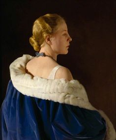 """Lady in Blue ('Jane', his wife Lilian Ryan)"" by Gerald Festus Kelly, 1930"