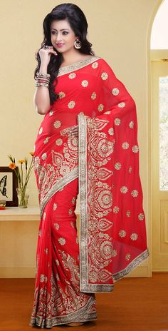 USD 135.18 Red Faux Georgette Wedding Saree 48354