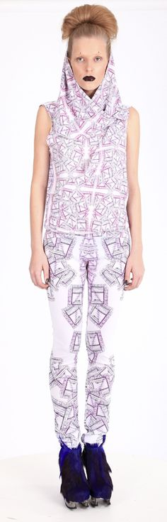 """Overall ( printed polyester, """"ticket for food"""" pattern), shoes ( leather, stain-less steel heel)"""