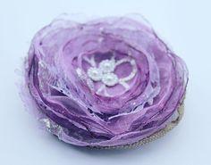 Purple FABRIC FLOWER/ Handmade Flower/PURPLE Flower by Gabiworks