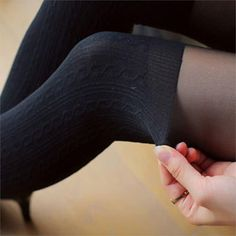 Fashion Women Sexy Black Tinted Sheer False High Stocking Pantyhose Tattoo Tights Twisted Pattern