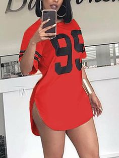 Side Split Letter Print Curved Hem Casual Dress Summer Sport Style T Shirt Dress Plus Size Cute Swag Outfits, Sexy Outfits, Dress Outfits, Fashion Outfits, Cute Dresses, Casual Dresses, Summer Dresses, Plus Size Dresses, Mode Streetwear