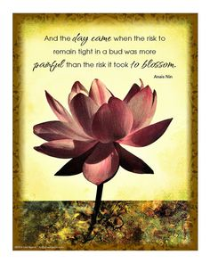 Lotus Flower 8 x 10 Print with Inspirational Quote by Anais Nin. Created from original Lotus flower artwork by Lisa Agaran.