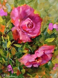 """Pink Roses of Coronado and a San Diego Workshop by Floral Artist Nancy Medina"" - Original Fine Art for Sale - © Nancy Medina"