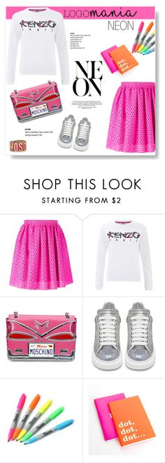 """""""Logomania!"""" by viola279 ❤ liked on Polyvore featuring moda, MSGM, Kenzo, Moschino, Alexander McQueen, Sharpie ve Kate Spade"""