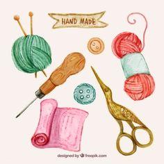 Set de elementos de costura de acuarela Make Design, Craft Day, Lana, Vector Free, Watercolor, Christmas Ornaments, Knitting, Sewing, Holiday Decor
