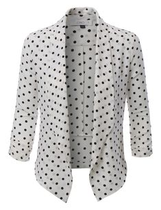 Step out of the box with our textured polka dot 3/4 sleeve blazer for all of your fashion needs. The textured crepe fabric gives the blazer an edgy feel. Pair it with a fitted midi dress for a girls n