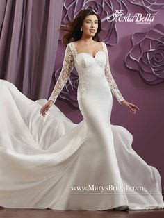 Be sexy and elegant with our new satin sheath bridal gown with lace applique on bodice, illusion long sleeves and back, and chiffon chapel train. Moda Bella style 3Y615