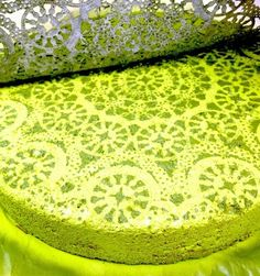 Spray paint stepping stone with lace.