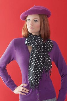 Benetton Cashmere cardigan, beret, United Colours of Benetton. Spotted scarf, @Next