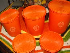 Orange Tupperware Canisters (they also came in brown and green, and everyone had them) hahaha.mom sold tupperware as well as avon. we had the green ones