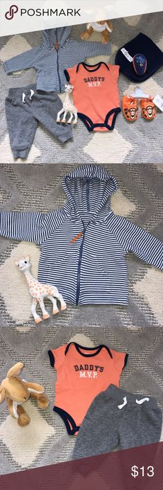 Baby boy clothes bundle we block Disney shoes This bundle consists of the essentials for your baby boy! It includes: NWT Disney tiger crib shoes 0-6M, we block pee pee cover (a must have!), blue burp cloth, Carter's Daddy's MVP 3M, gray joggers Circo 3-6M, blue orange with stripes hooded sweater 3-6M. All are in good shape apart from the Disney shoes that are brand new condition! Carter's Jackets & Coats