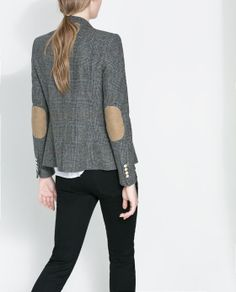 Womens grey blazer with elbow patches