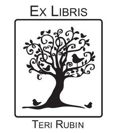 Custom whimsical birds in tree Ex Libris Mounted by terbearco.