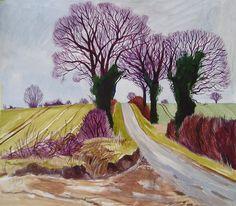 """ Transport Lane, Hales, Norfolk. Acrylic on paper, 21"" x 18"" Cornelia FitzRoy """