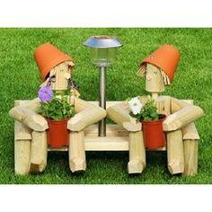 Wooden Garden Ornaments, Diy Wooden Planters, Landscape Timber Crafts, Landscape Timbers, Wooden Projects, Wood Crafts, Flower Planters, Flower Pots, Outdoor Garden Bench