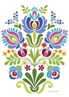 computer Folk Embroidery Patterns Hungarian Folk Art Blue and Purple Flowers - Hungarian Folk Art Print This is an image created in Adobe Illustrator and inspired by the beautiful folk desig Hungarian Embroidery, Folk Embroidery, Learn Embroidery, Embroidery Patterns, Indian Embroidery, Embroidery Online, Embroidery Tattoo, Stitch Patterns, Folk Art Flowers