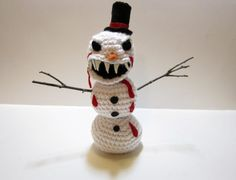 Angry Evil Snowman Plush Decoration  Crochet Evil by MadebyJody666