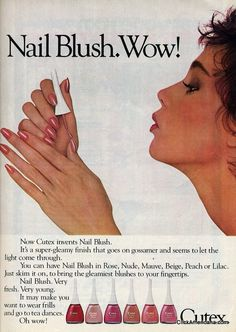 Maybelline Long-Wearing Nail Color ad Revlon Nail Enamel Cutex Nail Blush magazine advertisement Now Cutex invents Nail Vintage Makeup Ads, Vintage Nails, Retro Makeup, Vintage Beauty, 1980s Nails, 80s Ads, Cure Nails, Beauty Ad, Beauty Products
