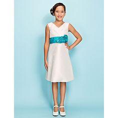 A-line V-neck Knee-length Taffeta Junior Bridesmaid Dress – USD $ 69.99 @Leya Karslake Oberparleiter   NEW YEARS SALE (Can do champagne with navy sash!)