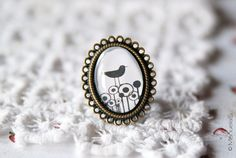 Black and White Bird RING  Adjustable by ManuelaS on Etsy, €7.50