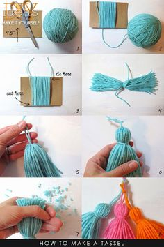 How to Craft Doll Dresses Diy Home Crafts, Crafts To Do, Yarn Crafts, Crafts For Kids, Preschool Crafts, Crochet Projects, Sewing Projects, Crochet Classes, How To Make Tassels