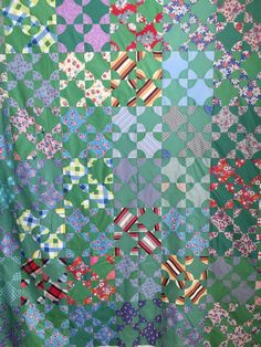 Antique Green Circle or Snowball Quilt Top with Wonderful Feed Sack Fabrics | eBay