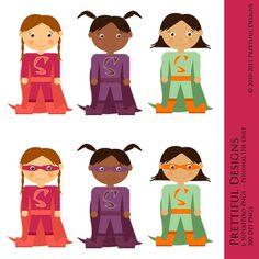 Superhero Girls Clip Art - For Paper Dolls, Birthday Invitations, Scrapbooking, Cards