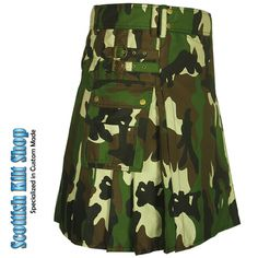 Even when you're working hard on the job site, you'll be thinking of the thrill of the hunt when you're wearing our Woodland Camouflage Army Kilt with its bold, stylish woodland camo look. #KiltsForSale #CamoKilts #TacticalKilts